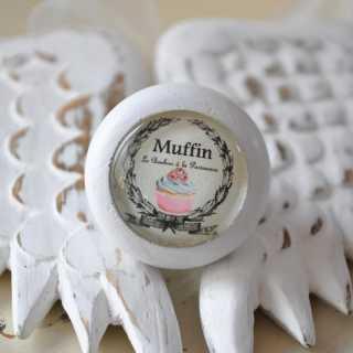 Shabby Chic Möbelknauf Muffin von Shabbyflair weiß