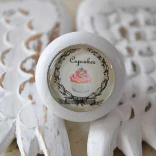 Shabby Chic Möbelgriff Cupcakes von Shabbyflair weiß