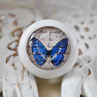 Möbelknauf Blue Butterfly von Shabbyflair