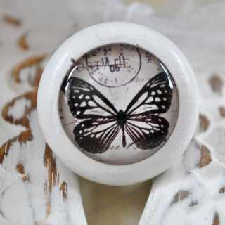 Möbelknauf Black Butterfly von Shabbyflair weiß