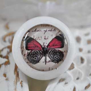 Möbelknauf Red Butterfly von Shabbyflair weiß