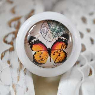 Möbelknauf Orange Butterfly von Shabbyflair weiß