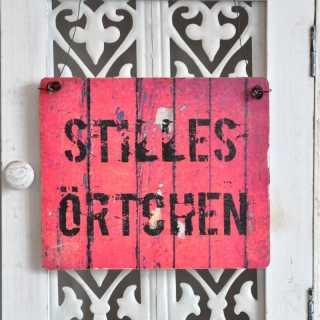 STILLES ÖRTCHEN Schild für die Toilettentür (rot / schwarz)