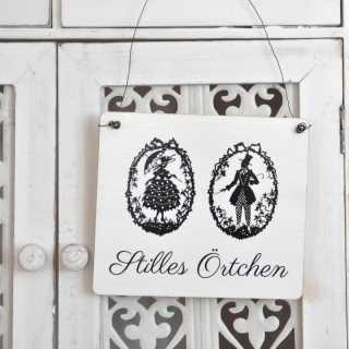 STILLES ÖRTCHEN Schild für die Toilettentür im Shabby Chic