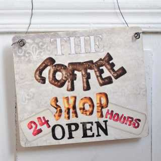 Schild aus Holz THE COFFEE SHOP OPEN 24 HOURS