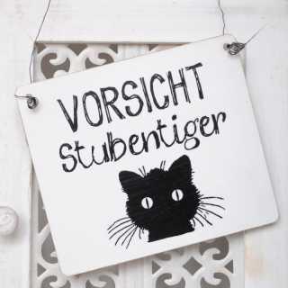 Dekoschild VORSICHT STUBENTIGER schwarze Katze