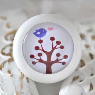 Holzknauf Möbelknauf BIRD ON TREE purple von Shabbyflair