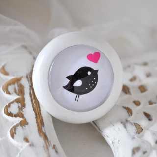 Holzknauf Möbelknopf BIRD white von Shabbyflair
