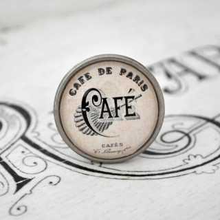 City Chic Vintage-Möbelknauf CAFÉ de PARIS aus Metall