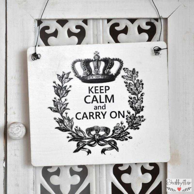 shabby chic vintage schild keep calm and carry on. Black Bedroom Furniture Sets. Home Design Ideas