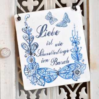 Vintage Hochzeit Schild LIEBE ist wie Schmetterlinge im Bauch