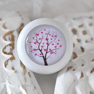 Holzknauf Möbelknauf TREE OF HEARTS von Shabbyflair weiß