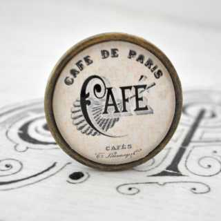 City Chic Vintage-Möbelknauf CAFÉ de PARIS aus Metall alt Messing brüniert