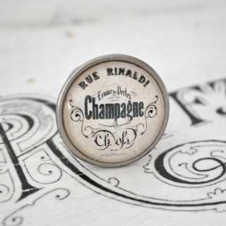 City Chic Vintage-Möbelknauf CHAMPAGNE aus Metall alt Zinn brüniert
