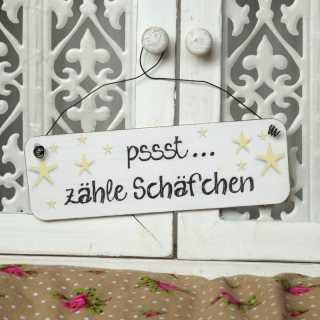 Shabby Chic Schild zur Dekoration PSSST... ZÄHLE SCHÄFCHEN