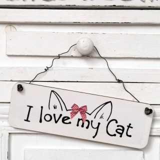 Dekoschild aus Holz mit Drahtaufhängung I LOVE MY CAT