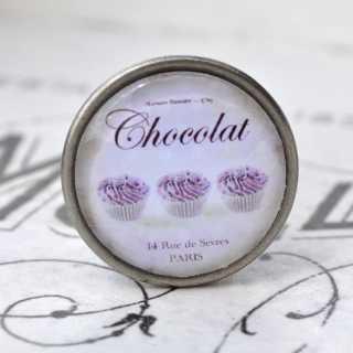 Shabby Vintage Metallknauf CHOCOLAT CUPCAKES purple