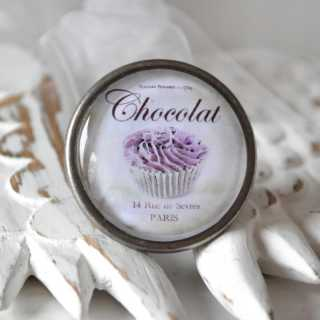 Shabby Vintage Metallknauf Möbelknopf CHOCOLAT de PARIS purple