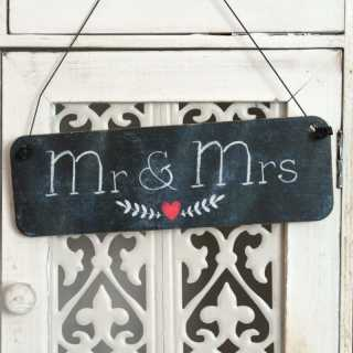 Dekoschild MR & MRS aus Holz im Tafel-Design