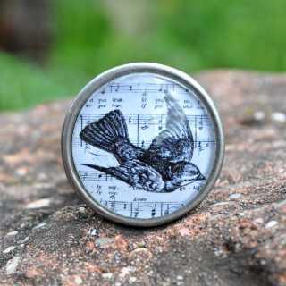 Vintage-Knauf Möbelknopf SPRING BIRD aus Metall