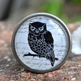 Vintage Knauf Möbelknopf BLACK OWL