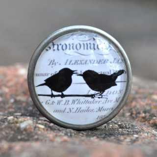 Vintage Knauf Möbelknopf SWEET LITTLE BIRDS Silhouette