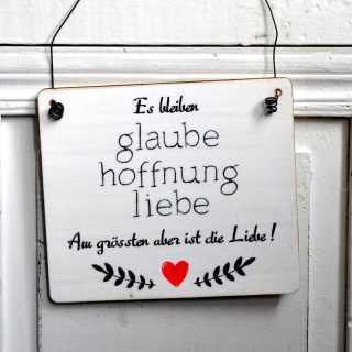 Schild Hochzeit Es bleiben GLAUBE HOFFNUNG LIEBE im Tafeldesign weiß