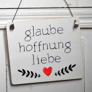 Dekoschild Hochzeit GLAUBE HOFFNUNG LIEBE im Tafeldesign weiß