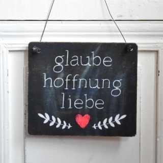Schild aus Holz GLAUBE HOFFNUNG LIEBE im Tafeldesign