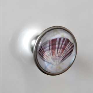 Maritimer Shabby Metallknauf Möbelknopf SHELL alt Zinn brüniert (altsilberner Look)