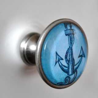 Maritimer Shabby Vintage Möbelknopf Knauf BLAUER ANKER alt Zinn brüniert (altsilberner Look)