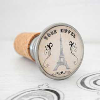 Vintage Weinkorken Flaschenverschluss Stopfen TOUR EIFFEL alt Zinn brüniert