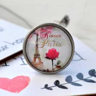 Möbelknöpfe LOVE in PARIS Metallknauf KISSES from PARIS