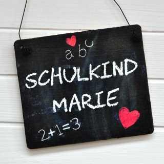 Holzschild im Tafeldesign SCHULKIND mit WUNSCHNAME für Mädchen
