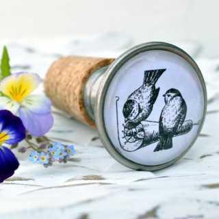 Vintage Flaschenkorken BIRDS COUPLE