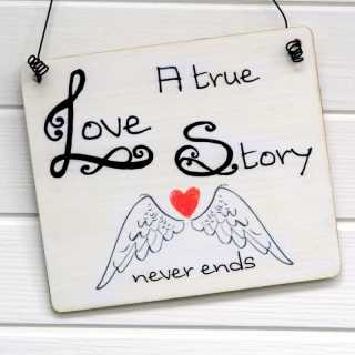 A TRUE LOVE STORY NEVER ENDS Hochzeit Schild Vintage