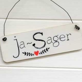 Schild für Hochzeiten aus Holz JA-SAGER