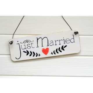 Schild für die Hochzeit JUST MARRIED (schmal)