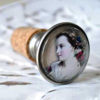 Flaschenverschlüsse VINTAGE LADY Modell ROSELLA alt Zinn brüniert (altsilberner Look)