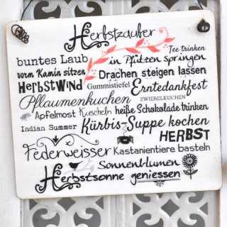 HERBSTZAUBER Schild Wortcollage