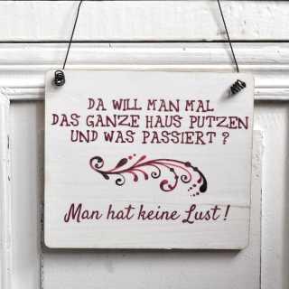 Dekoschild Holzschild HAUSPUTZ und KEINE LUST mit Schnörkel