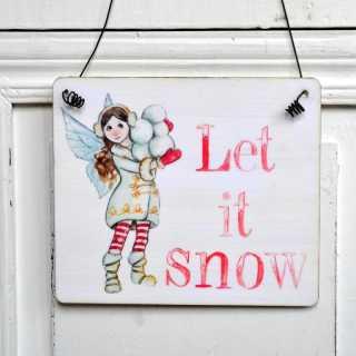winterliches Dekoschild Holzschild LET IT SNOW