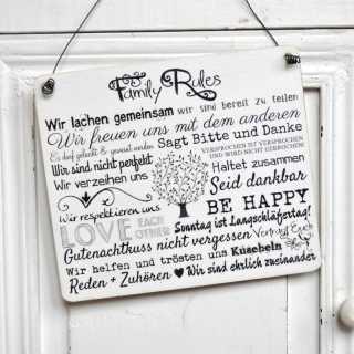 Vintage Dekoschild Holzschild FAMILY RULES im Shabby Chic