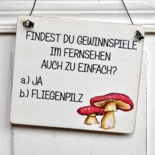 lustiges Schild aus Holz GEWINNSPIELE zu EINFACH