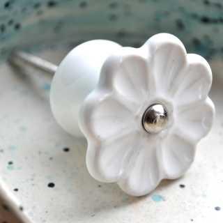 Möbelknopf WHITE VINTAGE FLOWER in Blumenform (4 cm)