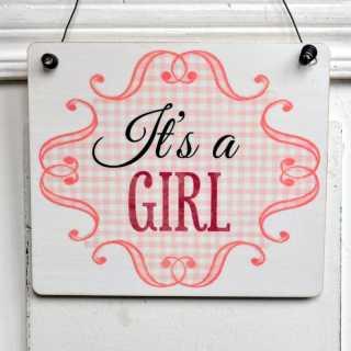 Holzschild zur Geburt eines Mädchens ITS A GIRL