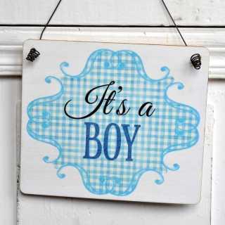 Holzschild zur Geburt eines Jungen ITS A BOY