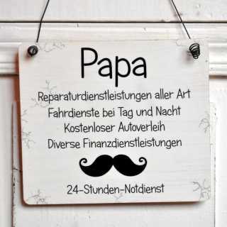 PAPA 24 h NOTDIENST Holzschild 13,5x15,5 (M)