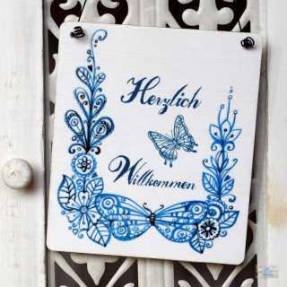 Holzschild Dekoschild HERZLICH WILLKOMMEN Schmetterlinge