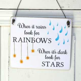 Shabby Chic Holzschild LOOKING FOR STARS & RAINBOWS